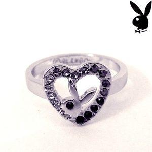 Playboy Ring Black Swarovski Crystal Heart Size 7